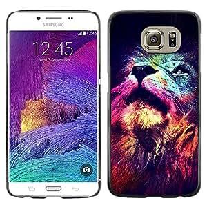 FlareStar Colour Printing Lion Cosmos Deep Universe Space King cáscara Funda Case Caso de plástico para Samsung Galaxy S6 / SM-G920 / SM-G920A / SM-G920T / SM-G920F / SM-G920I