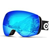 ODOLAND Grandi Occhiali da Vista scorrevoli sferici per Uomini e Donne, S2 Occhiali da Sole OTG a Due Lenti per Sci, Snowboards, motoslitta, Protezione UV400 e Anti-nebulizzazione
