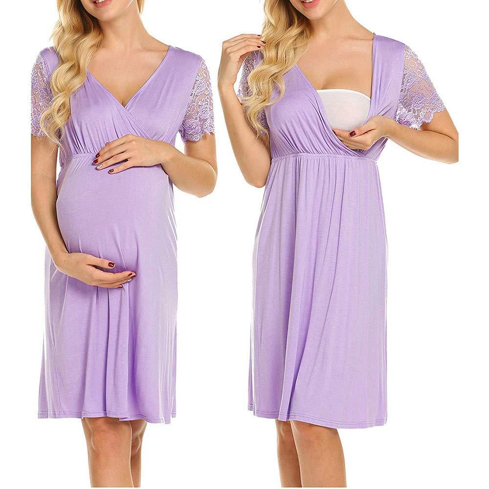 YCGG-Kleid Damen Langarm Umstandskleid mit Stillfunktion Umstandskleid Festlicher Stretchkleid V-Ausschnitt (,