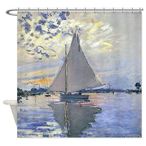 CafePress Claude Monet Sailboat Shower Curtain Decorative Fabric Shower Curtain (69