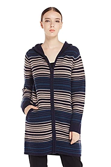 4b952ea353 Miuk Women s Wool Cashmere Hooded Long Sleeve Thick Cardigan Sweater Navy  Stripe S