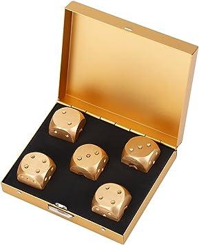 5pcs Juego de Dados de Aleación de Aluminio con Caja Metal Juguete de Entretenimiento Dados de Juego Regalos de Navidad(Gold-Square Box-oro): Amazon.es: Juguetes y juegos