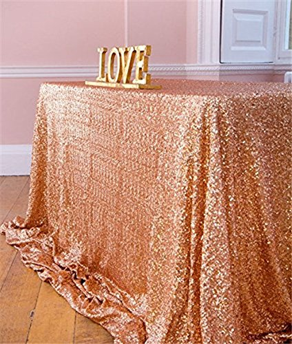 SoarDream 60x102 inch Rose Gold Sequin Tablecloth Rectangular Table Cloth for Wedding