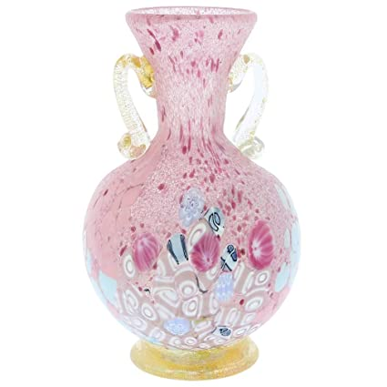 Amazon Glassofvenice Murano Glass Millefiori Vase With Golden