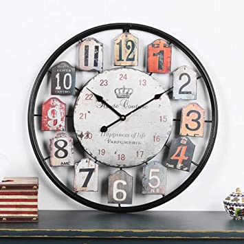 BOYI Reloj Pared Reloj de Pared Vintage de Hierro Forjado. Reloj Mudo Redondo Negro Sala de Estudio y Otros Relojes de Pared. Tamaño: 50 cm: Amazon.es: ...