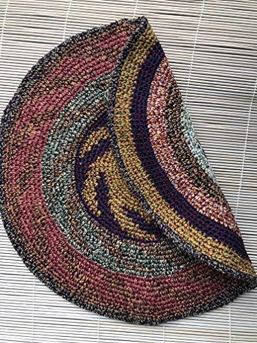 - EXTRA Large Tam Beret Slouchy Cap Hat Crochet Cotton Burnt Orange Rust Green Earthtone Pinwheel