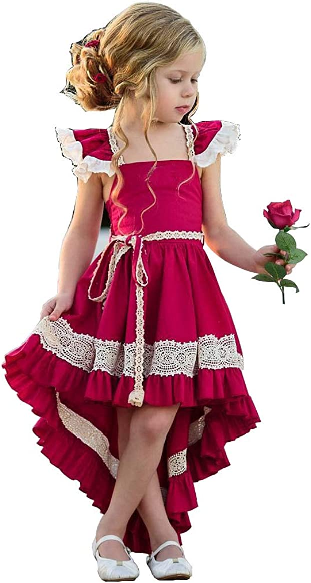 Baby Girls Fly Sleeve Ruffle Pleated Dress Special Occation Party Short Front Long Back Princess Dress
