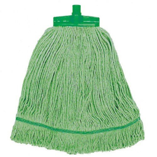 Small Pack of 10 12 oz Green Syr Clean HAS111-GN Stay Flat Changer Mop Head with Scourer