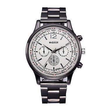 Beladla Relojes Hombre Originales Reloj De Pulsera De Acero Inoxidable De Banda De PU De Man Numero: Amazon.es: Ropa y accesorios