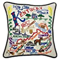 "Catstudio Kentucky Hand-Embroidered Throw Pillow | Geography Collection | 20"" x 20"""