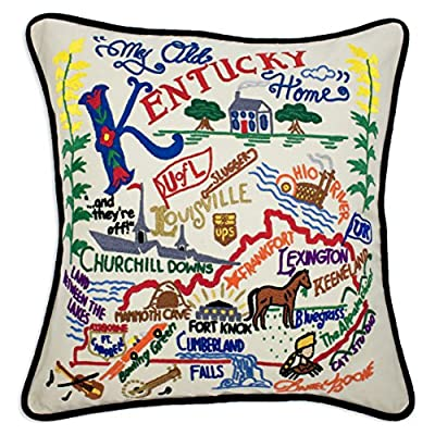 """Catstudio Kentucky Hand-Embroidered Throw Pillow 