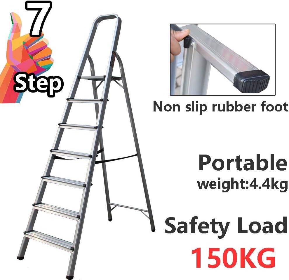 Escalera de aluminio para interiores con plataforma ligera y antideslizante, de 7 peldaños, 150 kg de carga: Amazon.es: Bricolaje y herramientas