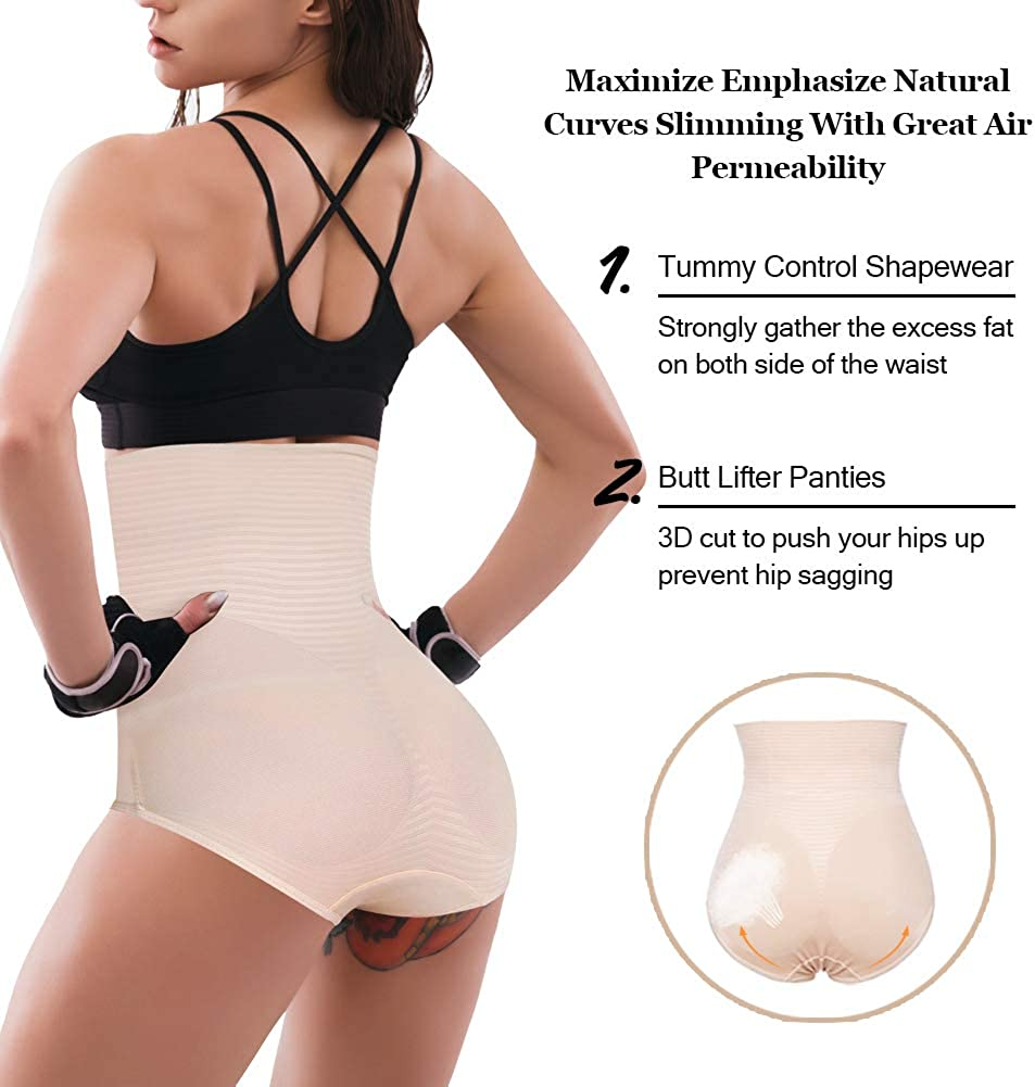 Larry/&Marry Womens Shapewear Tummy Control Panties Body Slimming Butt Lifter Elasticity High Waist Brief Shaper Underwear