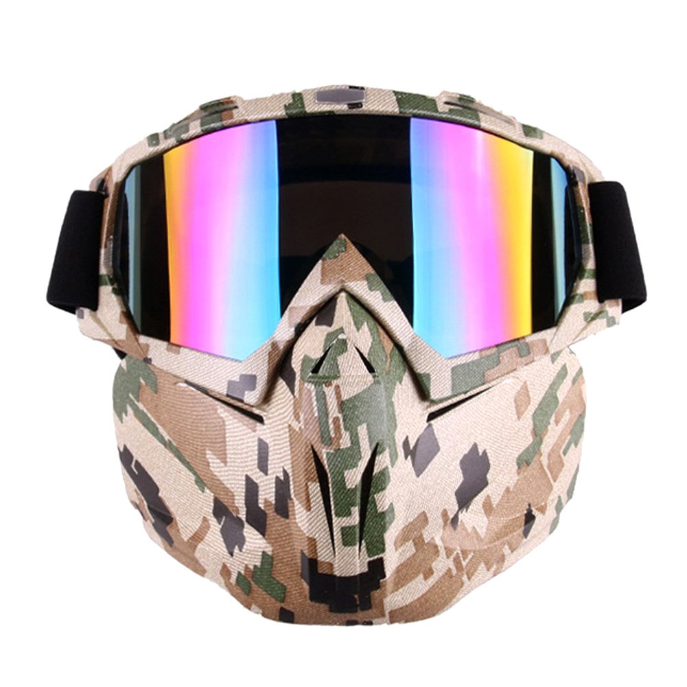 PiscatorZone Motorcycle Goggles Mask for Airsoft/CS/Paintball/Skiing/Riding/Cycling/Halloween/Costume Ball-UV Proof Windproof Anti-Fog Protective Detachable Adjustable Tactical Glasses (Camo Pattern) by PiscatorZone