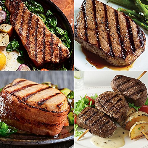 Strips, Tops and Chops – 4 (10 oz) Kansas City Strips, 4 (8 oz) Top Sirloin, 6 (7 oz) Boneless Pork Chops with Hickory Bacon and 16 (2 oz) Filet Mignon Medallions