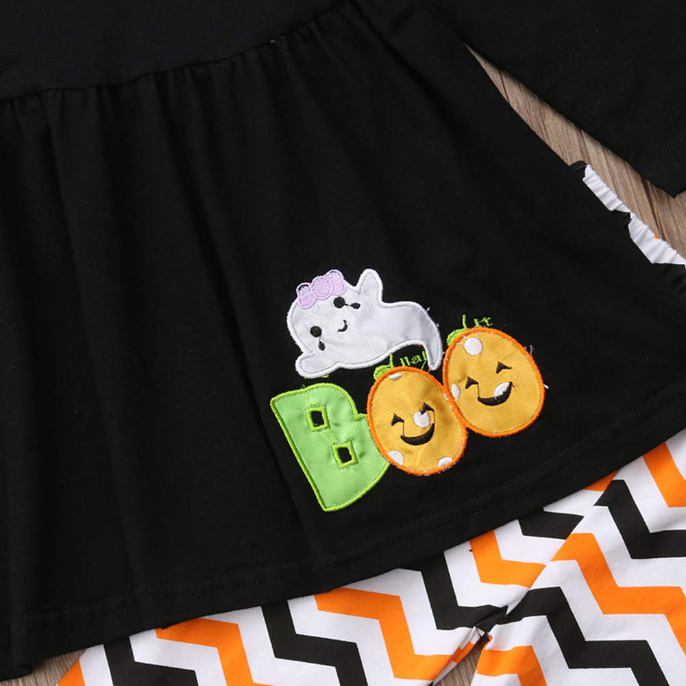 Toddler Baby Girls Halloween Outfits,Boo Long Sleeve Tops Dress+Leggings Pants Headbands Clothing Set