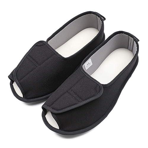 6d33c29b6a090 Secret Slippers Women's Adjustable Open Toe Diabetic Recovery Sandals,  Memory Foam Cozy Arthritis Edema House Shoes