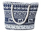 Pulama Womens Large Beach Tote Canvas Shoulder Bag Wave Striped Anchor Summer Handbag Top Handle Bag Straw Beach Bag (Mystical Blue Eleph)