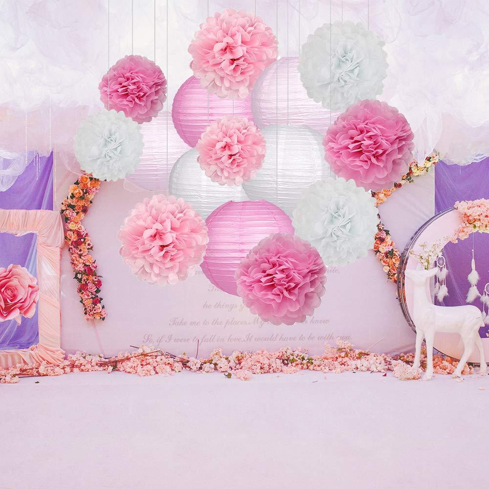 Weihnachten Baby Duschen und Hochzeit Dekoration Kit Grau und Wei/ß Sch/öne h/ängende Papierblumen Pompons Rosa Wankd 15 St/ück Set Seidenpapier Pompoms Blumen und Papierlaterne Party Geburtstag