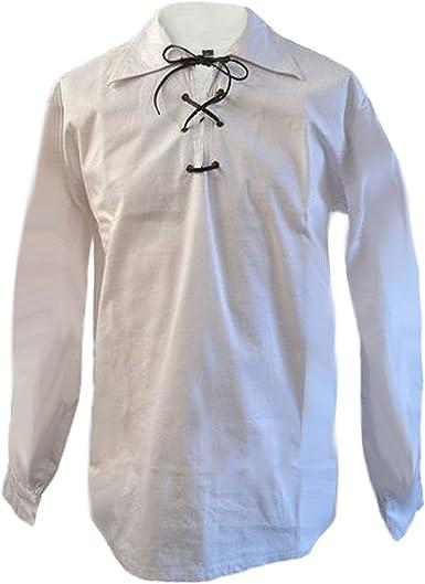 Scottish Jacobite Ghillie Kilt Shirt Leather Cord,Jacobean Ghillie Shirt