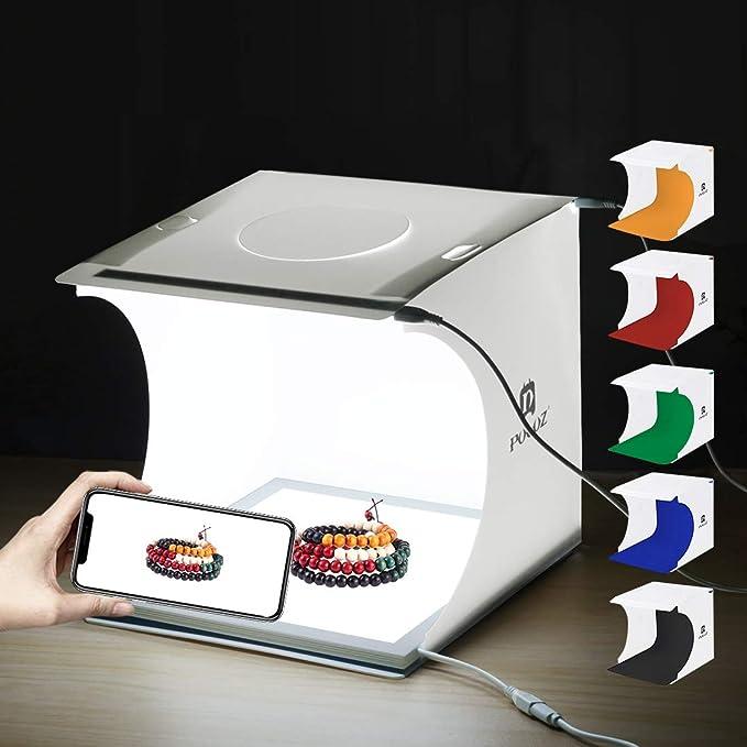 PULUZ Kit de estudio fotográfico portátil 24 x 23 x 22 cm Caja de luz plegable Panel iluminado LED sin sombra con 6 fondos para fotografiar productos pequeños: Amazon.es: Electrónica