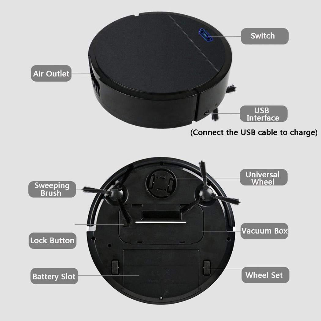 Gfone 3 en 1 USB Robot Aspirador de Limpieza de hogar Robot Dise/ño para Pisos Duros y Alfombra Blanco Succi/ón 1500pa