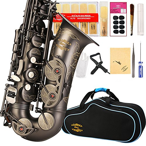 ENGRAVED FLOWER Glory High Grade Antique finish series PR3, E Flat Alto Saxophone with 11reeds,8 Pads cushions,case,carekit