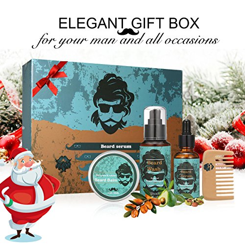 LuckyFine 4Piece Beard Styling and Shaping Set - Great for Dry or Wet Beards - Adds Shine and Softness - Gift Set Includes Beard Shampoo ,Beard Oil ,Beard Balm ,Wooden Comb - Beard Care,Christmas Gift