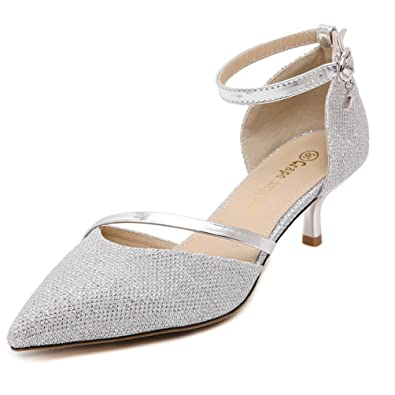 89a6ac146d95ee Inconnu Escarpins Femmes Talons Aiguilles Moyen Chaussures Bride Cheville  Boucle Pointu Élégants Sandales Argent 34