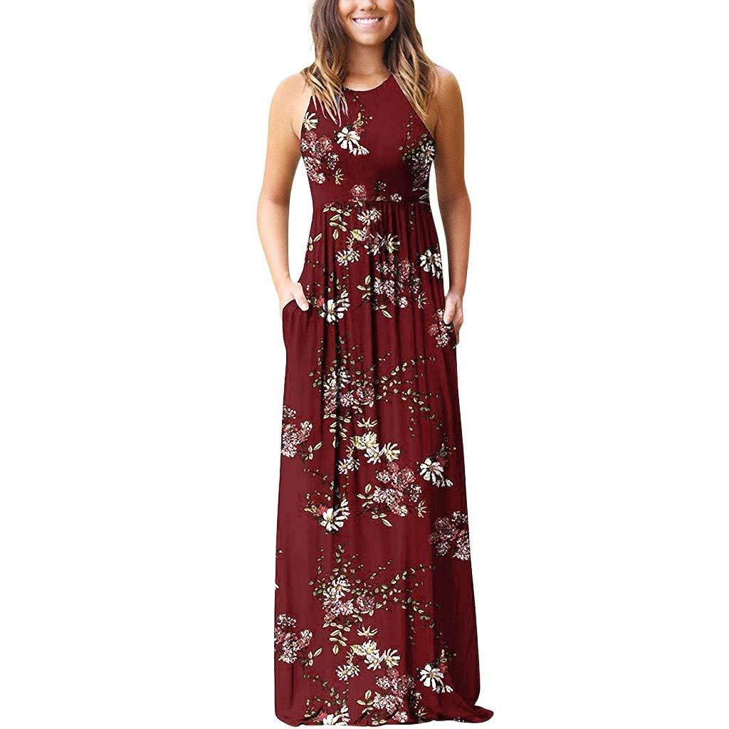 Women's Summer Dresses Floral Maxi Sleeveless Evening Dress Beach Party Chiffon Long Skirt ❀Vine_MINMI❀ Skater T-Shirt Red by Vine_MINMI Dress