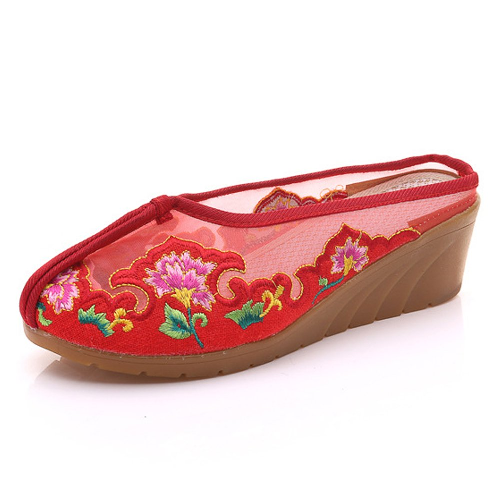 Femmes Gaze Élégante Chaussures Partie Élégante Broderie Sandales Plate-Forme Wedges Attrayant Rouge Chaussures Rouge 7def898 - boatplans.space