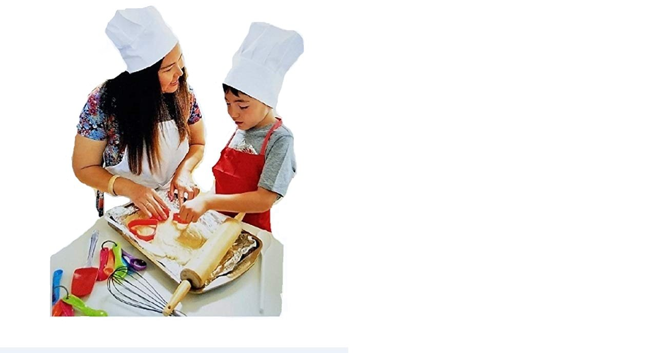 Pastime Treasures Kids Chef Costume with Apron, Hat & Cooking Accessories (Red) - Ages 3-7 - Includes The Ultimate Recipe Musical CD & Storybook - Adjustable Restaurant Quality Apron & Hat