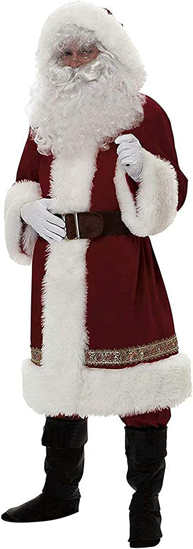 Loalirando Disfraz de Papá Noel para Adultos 4 Piezas Conjunto Ropa Disfraz Santa Claus para Navidad Traje de Felpa para Fiesta Cosplay Costume Christmas XXL