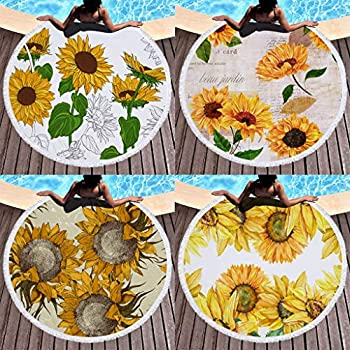 Sunflower Yoga Tassel Round Beach Towel Cotton Tablecloth Beach Towel Mat