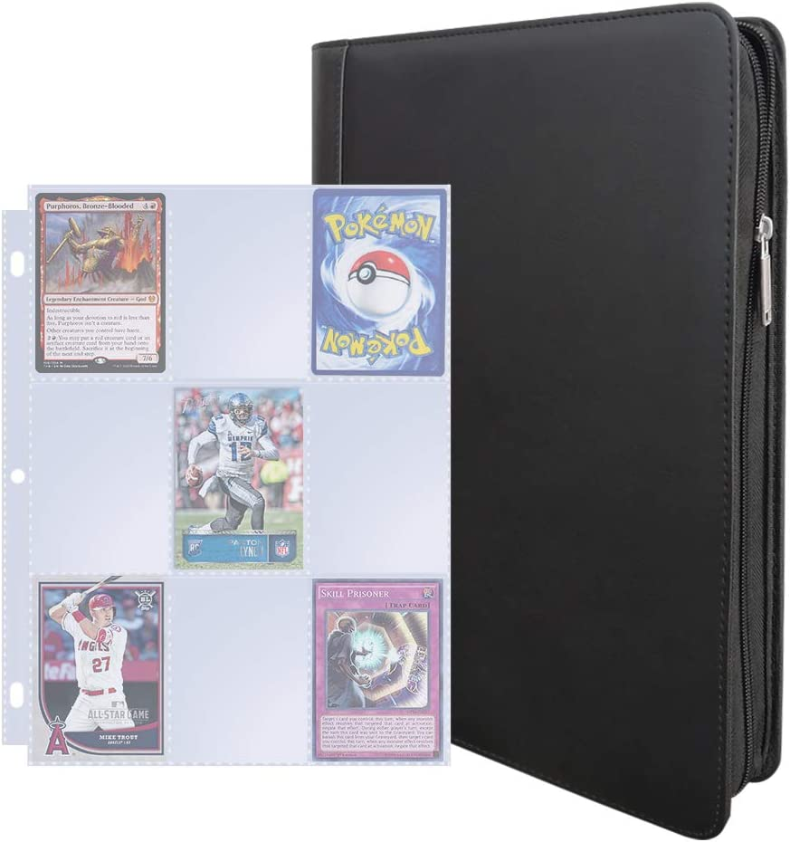 9 Pocket Trading Card Album 360 Side Loading Pocket Binder for Trading Card Games TCG Green Card Guardian
