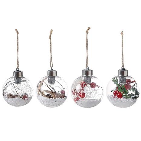 ec7634d51f060 Bolas navideñas de Takefuns Adornos navideños Set Nuevo adorno navideño de  LED Árbol Bola transparente de cristal ...