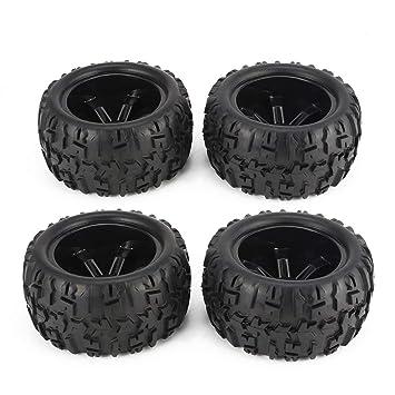 4pcs 150mm borde de la rueda y neumáticos para 1/8 Monster Truck Traxxas HSP HPI E-MAXX salvaje Flujo de carreras de coches RC Accesorios Negro: Amazon.es: ...