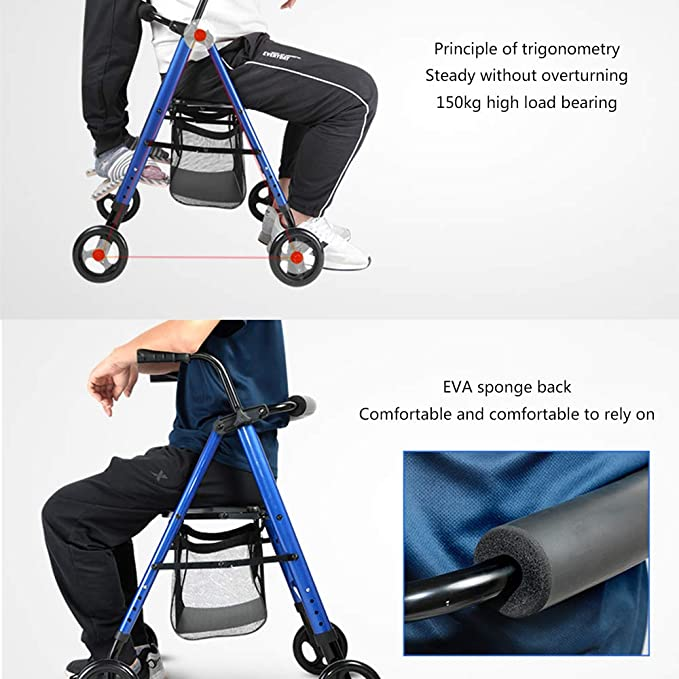 HENGYE Rollator Plegable Walker - 4 Ruedas Medical Rolling Walker ...