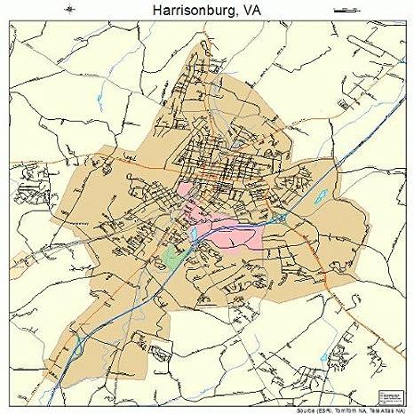 Amazon Com Large Street Road Map Of Harrisonburg Virginia Va