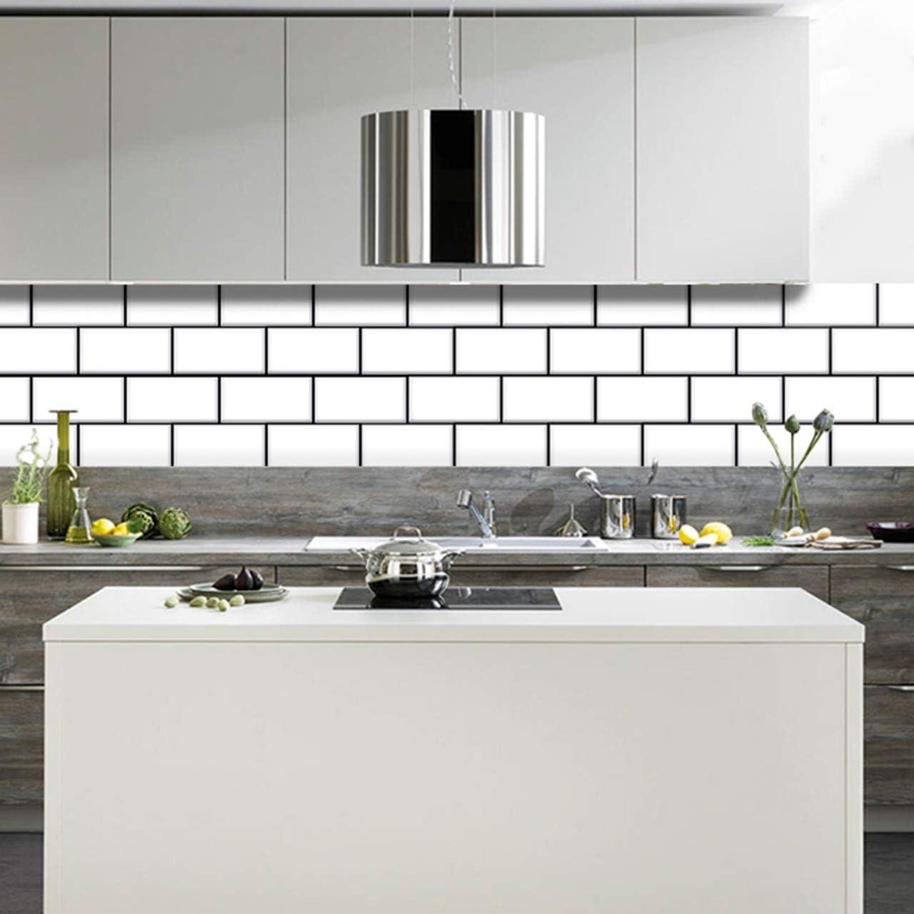 - Amazon.com: BRICKA White Brick Tile Stickers 6x6 Inches Set 20