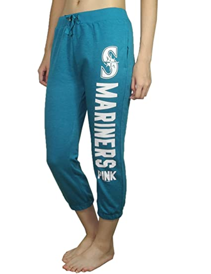 e6748f841892d8 Pink Victoria's Secret Womens SEATTLE MARINERS Lounge / Yoga Crop Pants