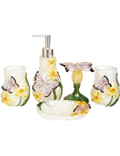 Haosen Six Resin 5 Pieces Bathroom Accessory Set Butterfly  Colorful  Tropical Butterfly Design Ensemble
