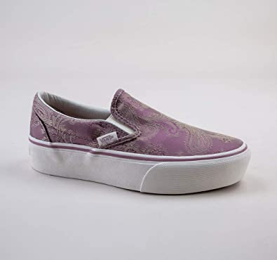b80c7d02a84 Vans Women's Classic Slip-On Platform (Satin Paisley) Mauve/Snow White  Loafers