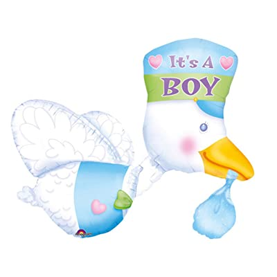 "Anagram International 706301 32"" STORK:BOY SHAPE FOIL-PKG, Multicolor: Kitchen & Dining"