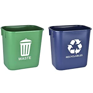 Acrimet Wastebasket Bin for Recycling and Waste 13QT (Plastic) (Green and Blue) (Set of 2)