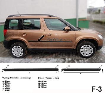 Spangenberg Listones de protección Lateral, Color Negro, para Skoda Yeti SUV Combi Tipo 5L año de construcción 2009 - 12.2015 F3 (370000314): Amazon.es: ...