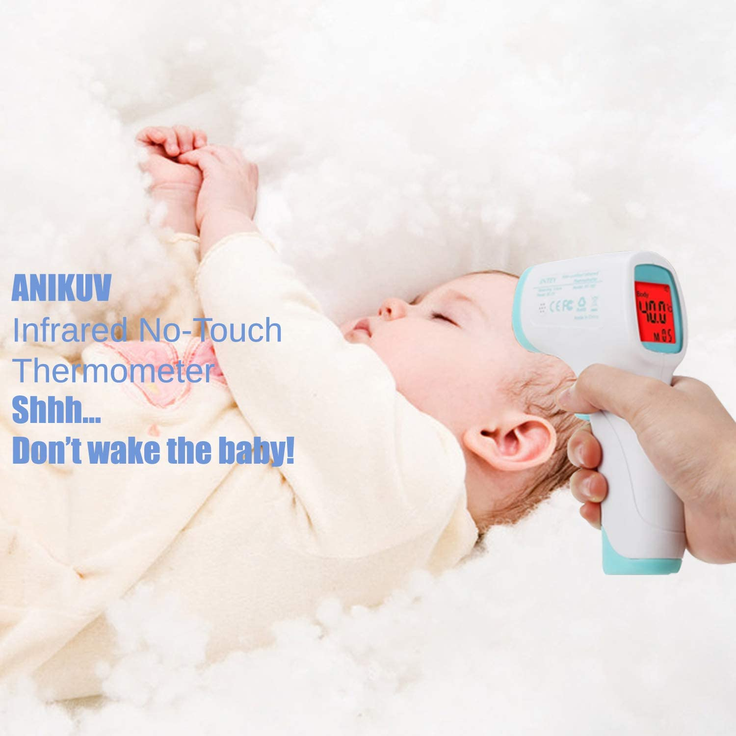 Non-Contact Infrared Body Temperature Thermometer Accurate Fever Thermometer Kids ANIKUV Forehead Digital Thermometer for Baby Adults and Pets