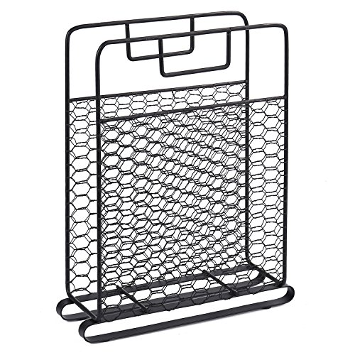 MyGift Country Rustic Metal Chicken Wire Mesh Desktop Magazine Rack (Rack Magazine Top Wide)