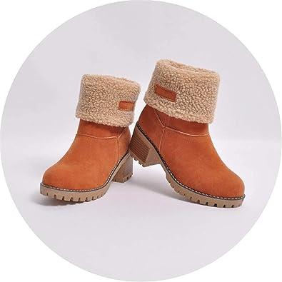 6483e6d28c00 Boots Women s Ladies Winter Shoes Flock Warm Boots Martin Snow Boots Short  Bootie Shoes