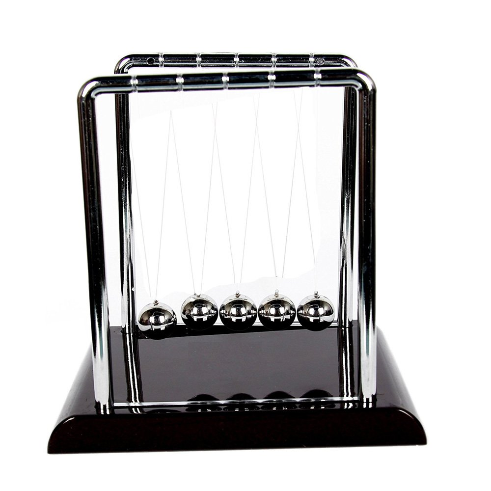 Newton Cradle Art in Motion with Metal Balance Ball and Plastic Base (Black) Twshiny